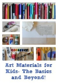 art materials for kids - a list of the very basics, the basics, and recommended art materials for kids who are ready to go further with experimenting with art materials. Artchoo.com