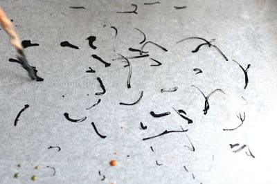 ink marks on wax paper