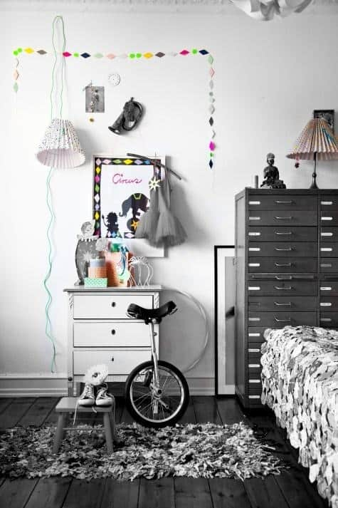 black and white kids' room