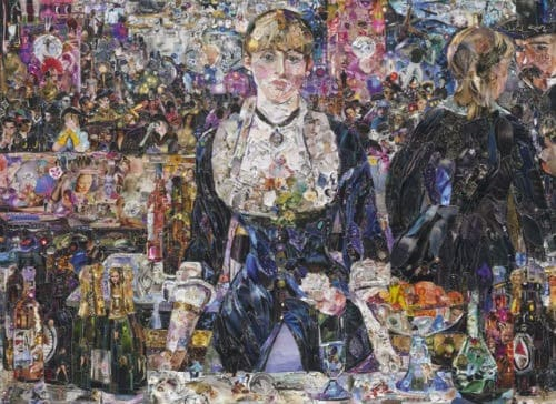 magazine scrap collages of famous paintings