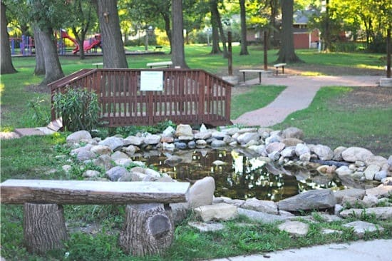 pond and bridge in outdoor classroom | Artchoo.com