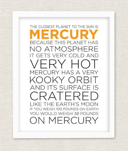 mercury wall art
