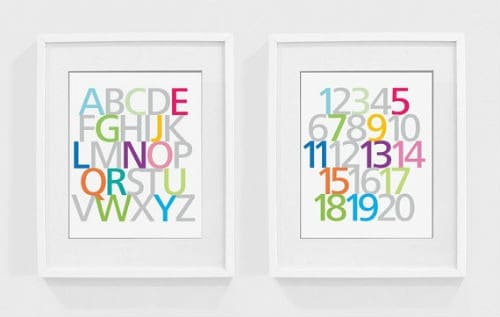 numbers letters wall prints
