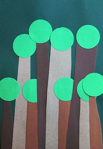 Paper collage trees | Artchoo.com