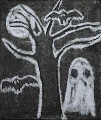 Spooky Scene Charcoal Drawing! Great Halloween kid's art project