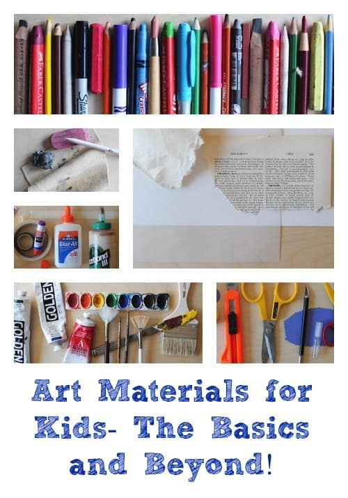 List of art materials for kids, including the basics and a bunch of extras you'll want to buy as your kids get older. From Artchoo.com #creativekids