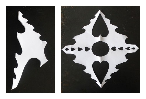 valentines day hearts-snowflakes art project