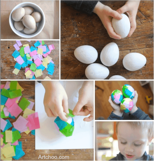 Tissue Paper Easter Eggs Project