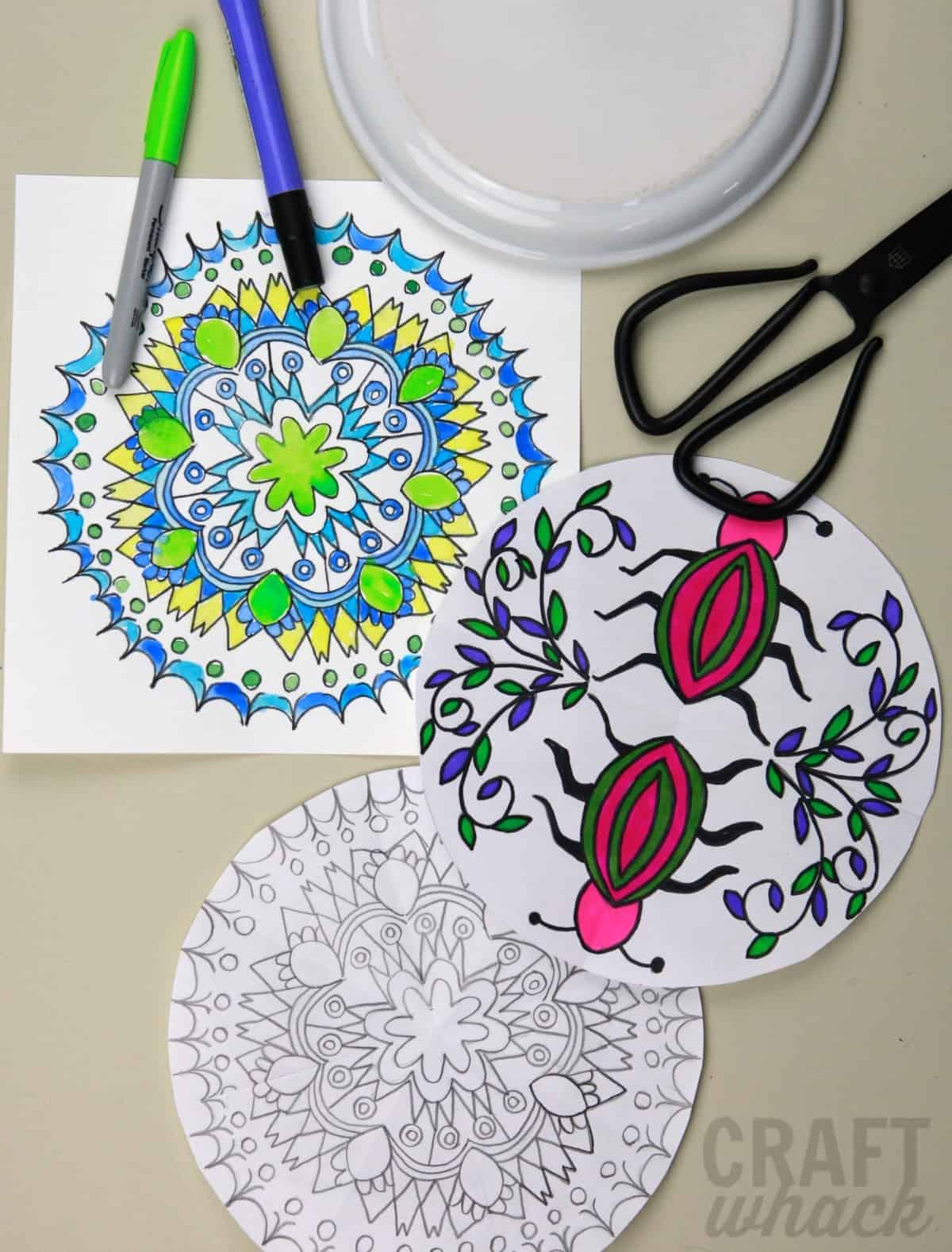 drawn mandalas and supplies