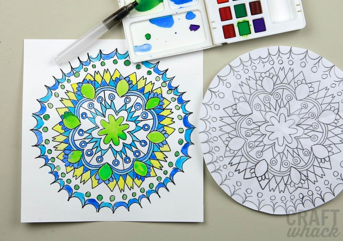 watercolor mandala drawing