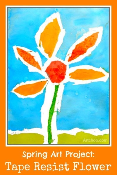 Spring Art Project: Watercolor tape resist flower paintings • Artchoo.com