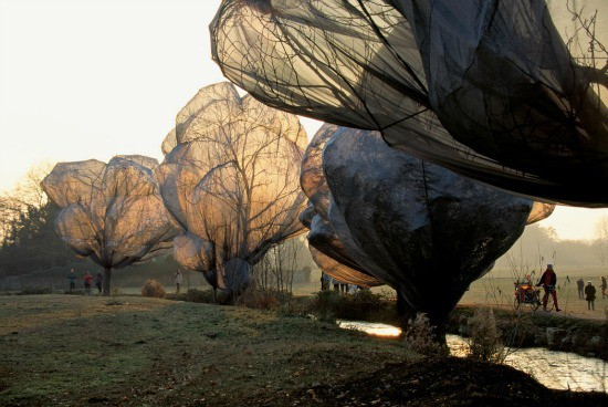 Wrapped Trees- Christo and Jeanne-Claude. Kids Learn Installation art • Artchoo.com #arted