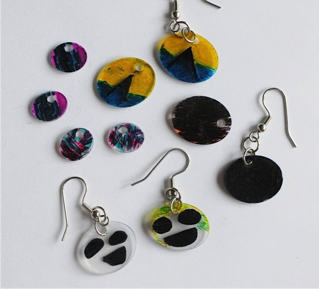 shrinky earrings made with permanent markers and #6 plastic takeout container lids • Artchoo.com
