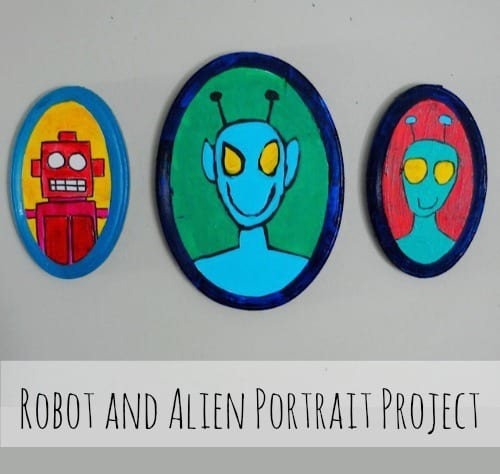 Alien and robot portrait painting project. Art projects for kids and other creative people • Artchoo.com