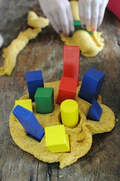 playdough and block garden