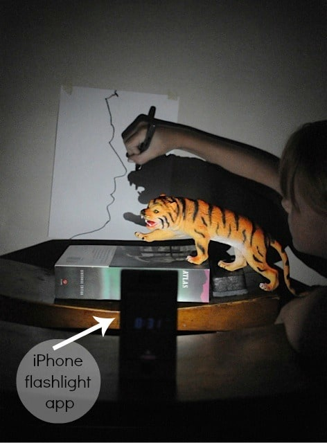 shadow drawing art project for kids