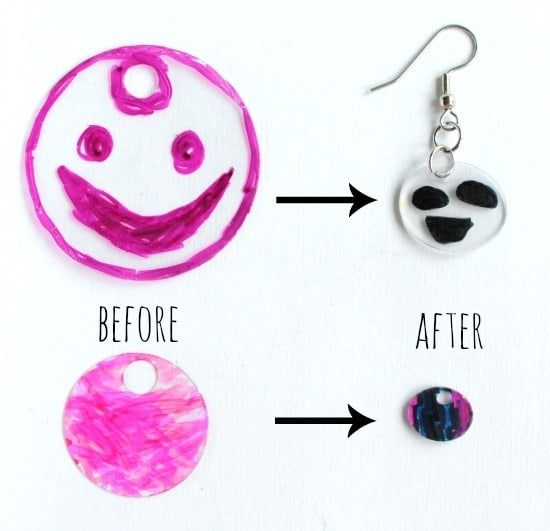 shrinky earrings- how much they shrink after baking • Artchoo.com