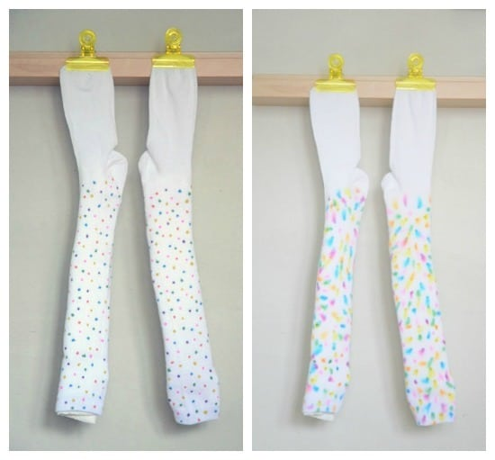DIY tie dye socks- before and after spraying or dripping alcohol on permanent marker • Artchoo.com
