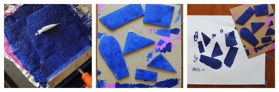 Printmaking with kids- using cardboard shapes • Artchoo.com