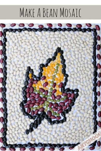 bean mosaic art project for kids • Artchoo.com