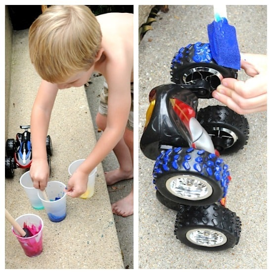 Painting With Toy Car Tires! Artchoo.com