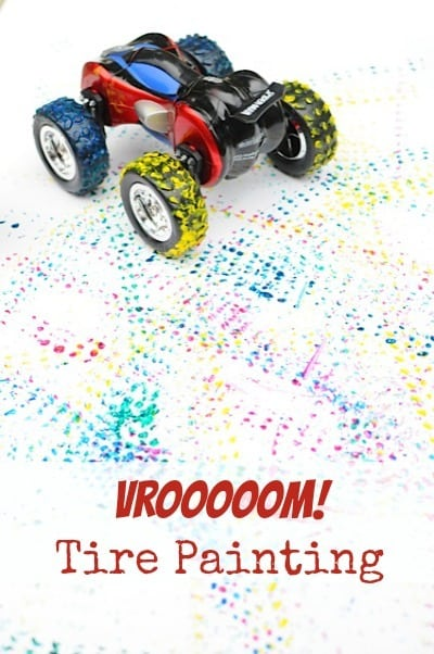 Painting with car tires • Artchoo.com