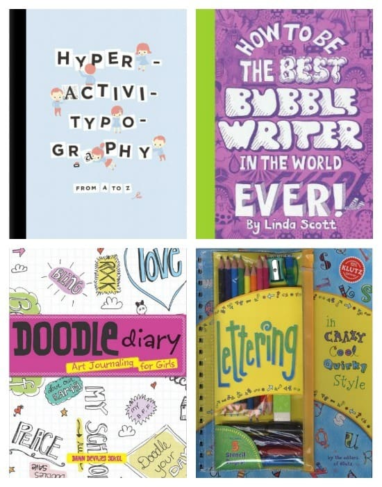 Books on typography for kids - fun workbook-type books so they can practice lettering.