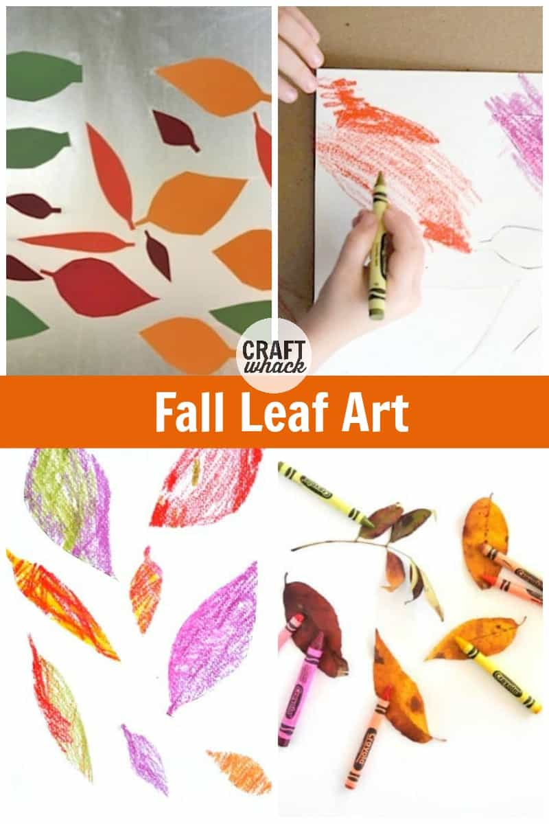 contact paper leaf art, stencil leaf art with crayons, and autumn leaves