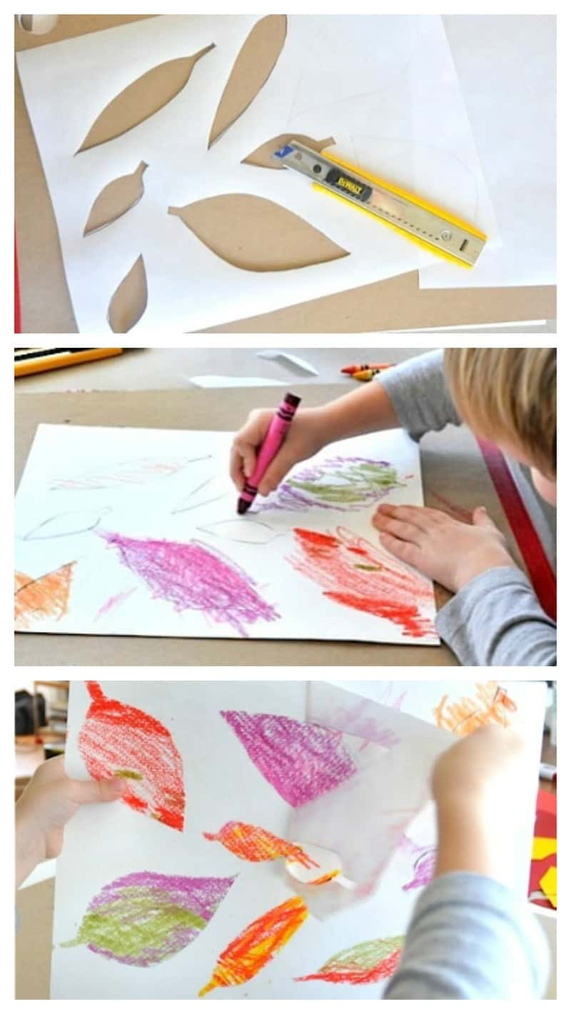 coloring with crayons in a freezer paper leaf stencil