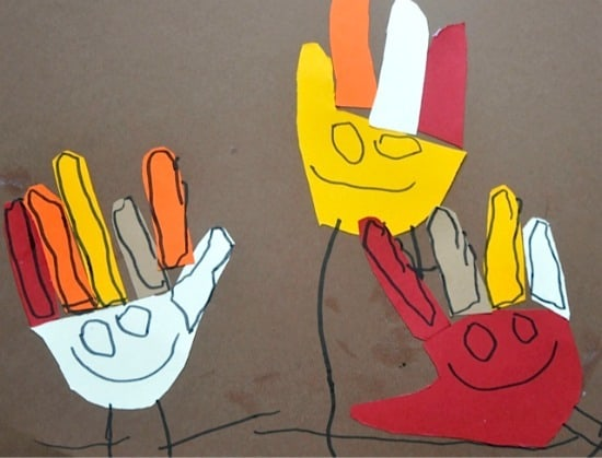 hand turkey craft for little kids • Artchoo.com
