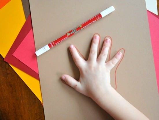 tracing hand for hand turkey