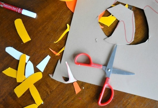 cutting paper for hand turkeys