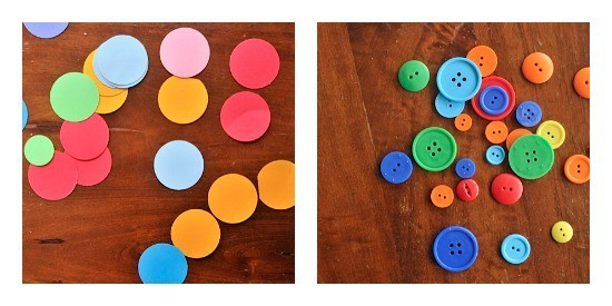 Dots and button collaging for preschoolers • Artchoo.com