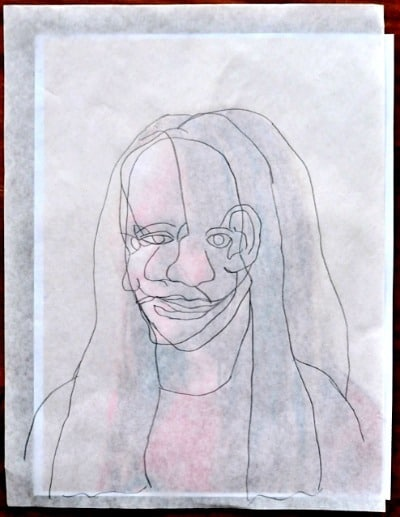 Tracing a face for Picasso Cubism painting project • Artchoo.com