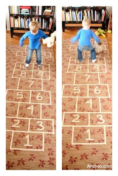 masking tape hop scotch • Artchoo.com