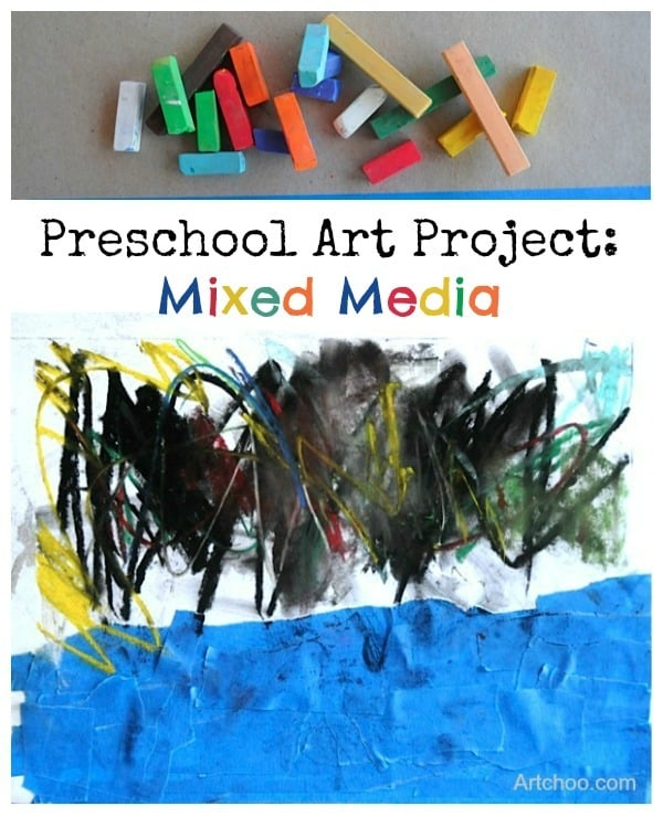 mixed media preschool art project • Artchoo.com