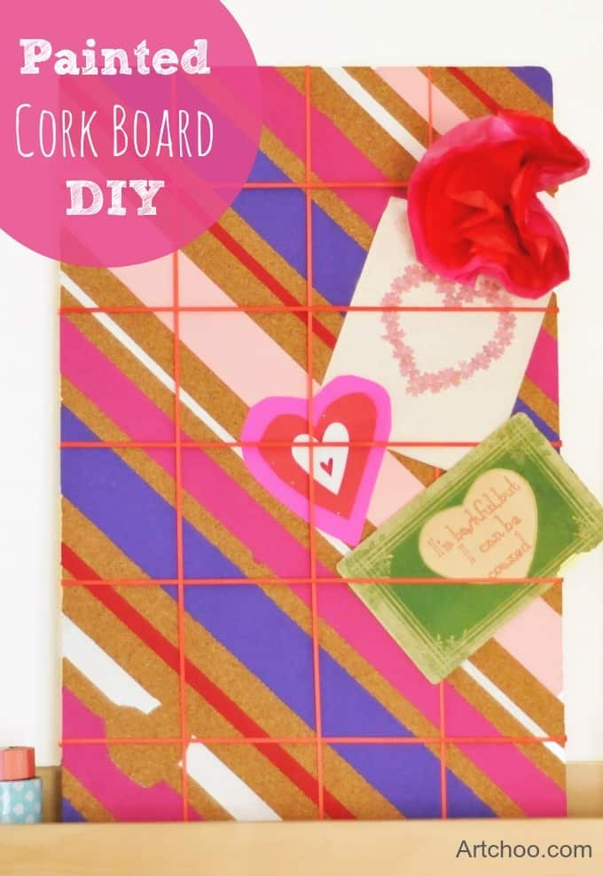 DIY valentines painted corkboard