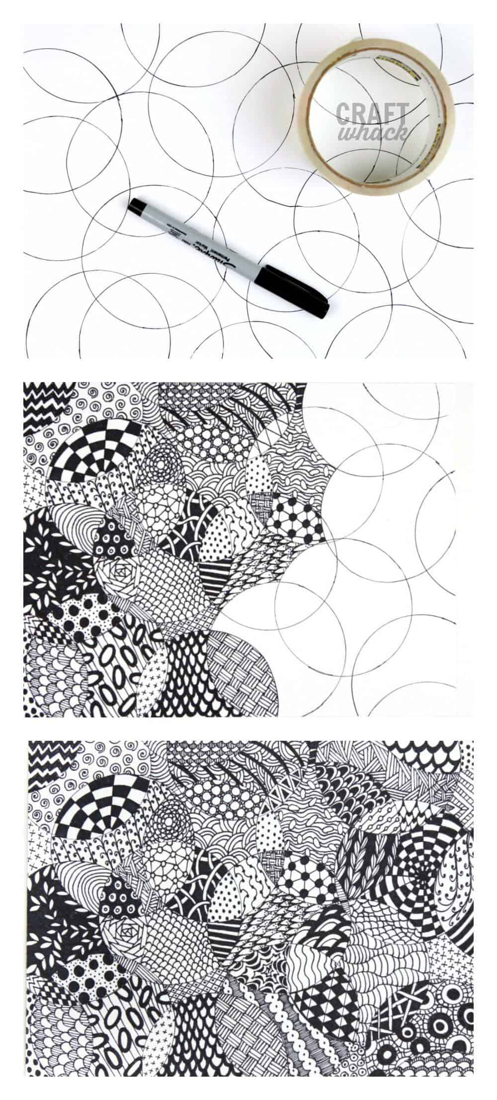graphic relating to Zentangle Patterns Step by Step Printable named Extensively Simple Zentangle · Craftwhack