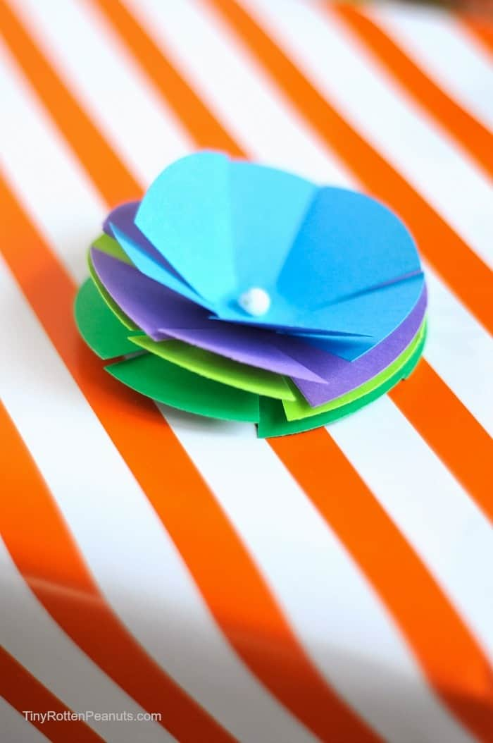 paper flower package topper