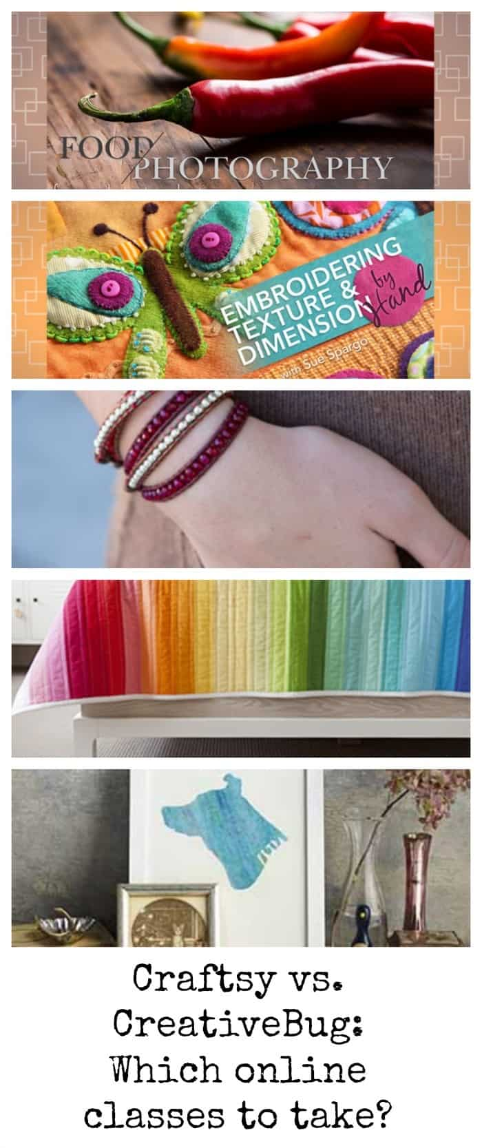 Comparing Craftsy to CreativeBug online craft classes