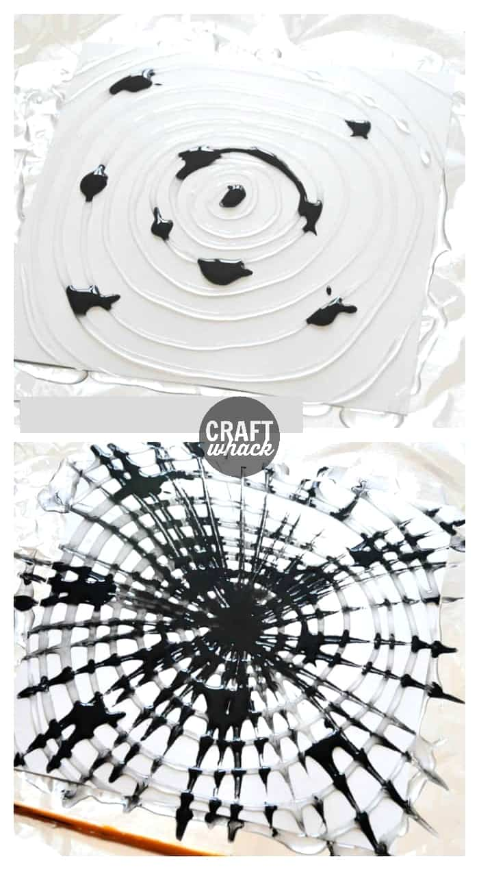 glue and paint used to make a spiderweb painting