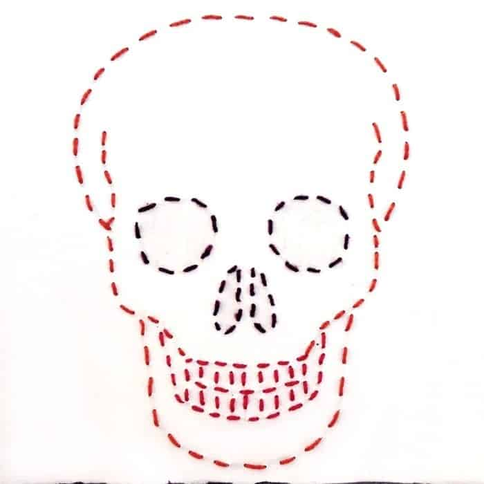 embroidered skull drawing - drawing 8 in my 31 days of drawing challenge