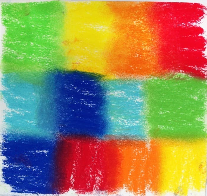 Chal pastel rainbow patchwork drawing