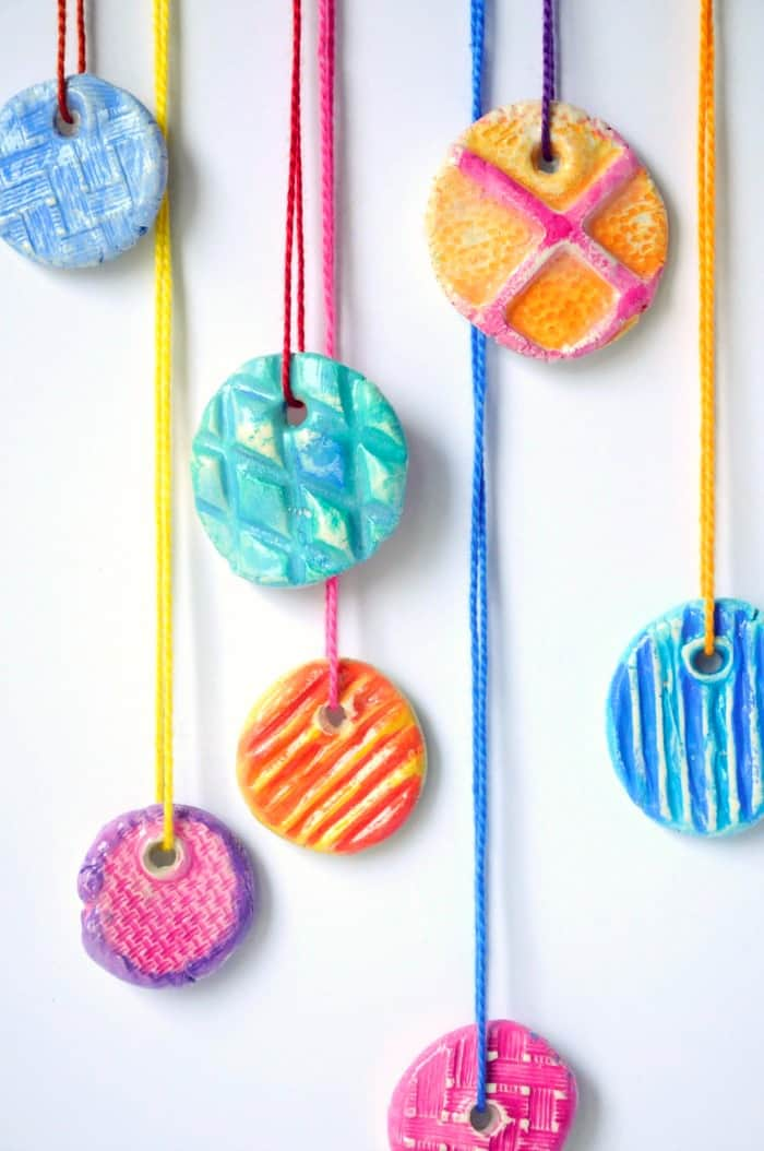 kid craft ideas diy texture clay pendants craftwhack 2270