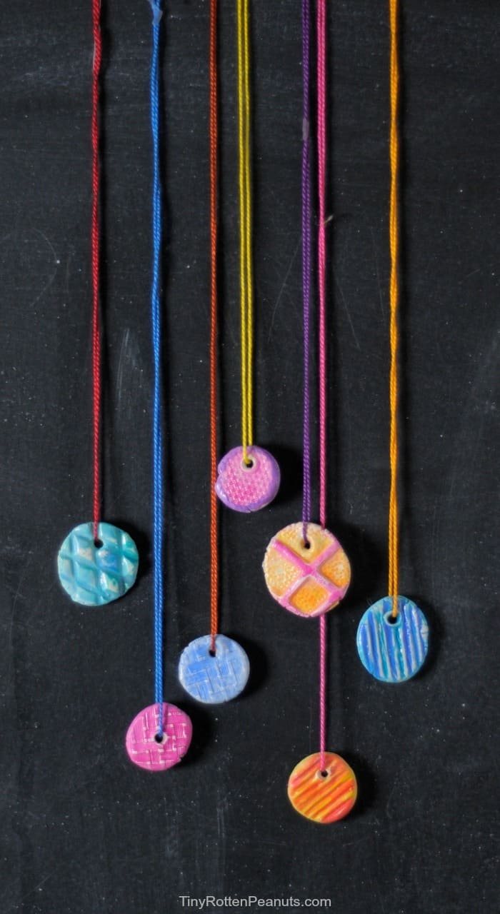 DIY clay pendant texture necklaces - great kid holiday gift!