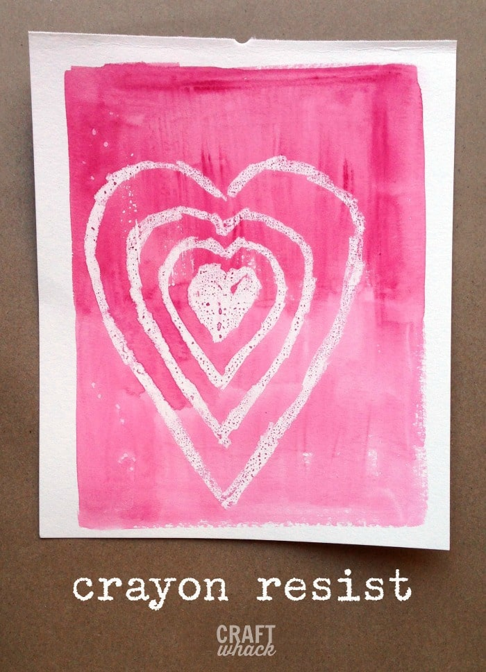 wax resist watercolor heart