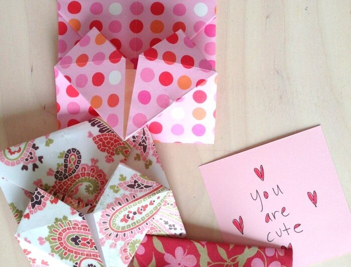 Learn to make an origami heart envelope for secret notes or to use as a valentine envelope
