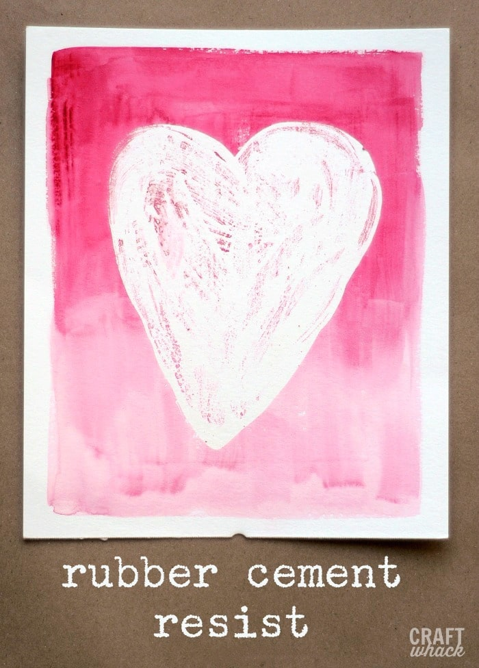 rubber cement watercolor resist heart