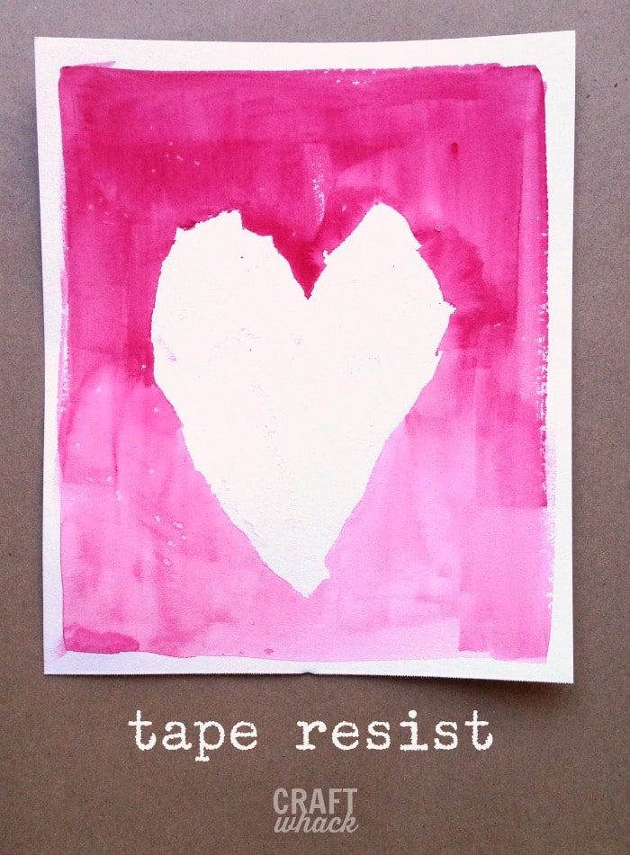 Tape resist watercolor hearts