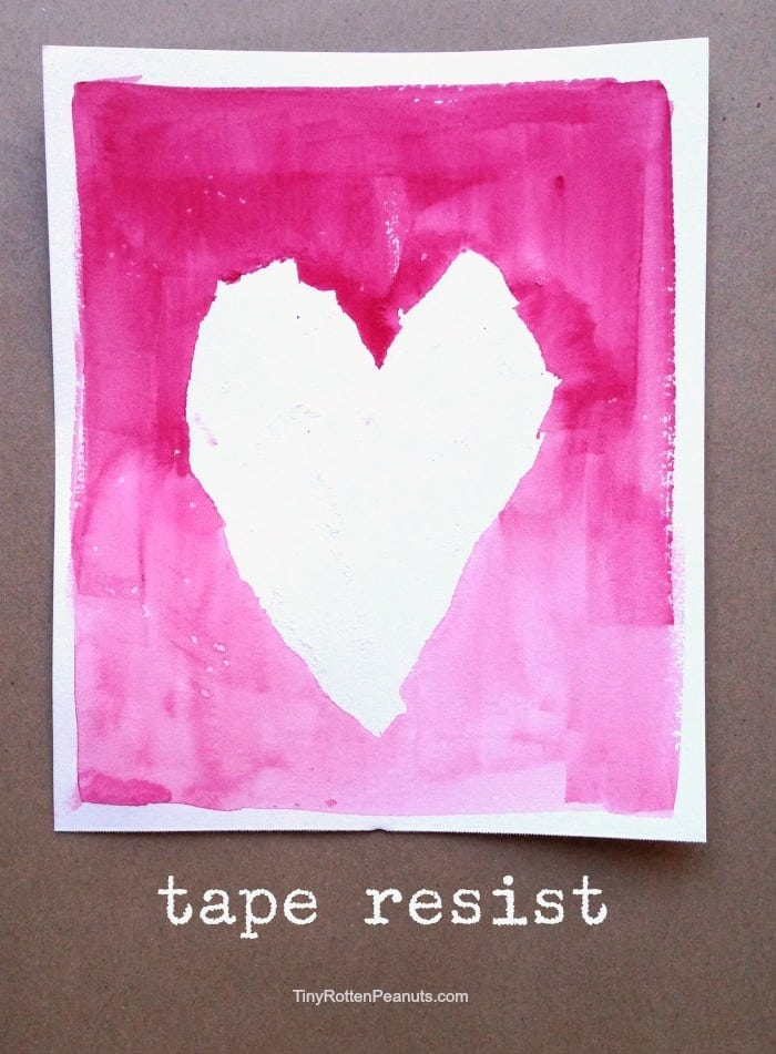 tape resist watercolor heart project